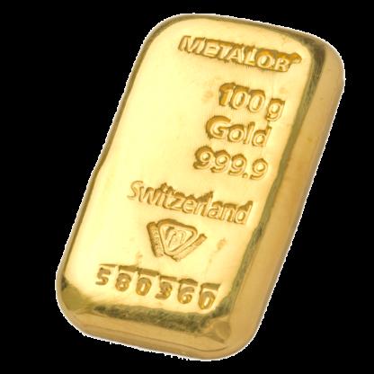 100g Metalor Gold Bar